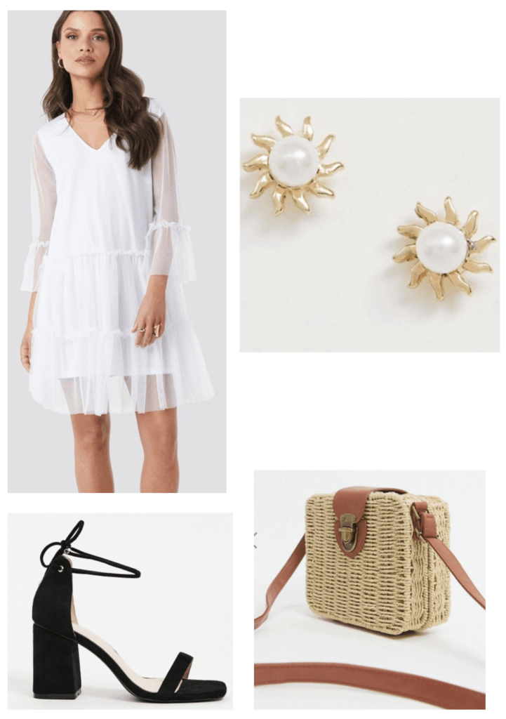 Outfit idea with a white flowy dress, black strappy heels, gold earrings, and rattan bag