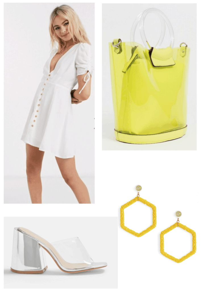 How to style a button front white summer dress in a mod way with clear heels and neon accessories