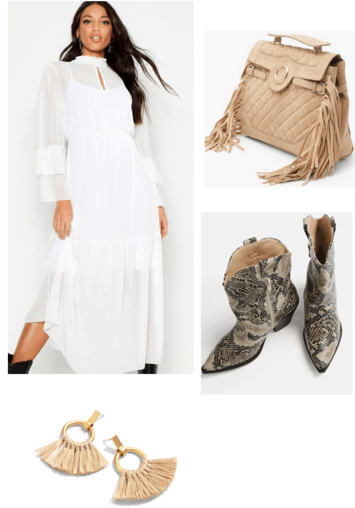 How to style a white prairie dress - outfit set with fringe bag, cowgirl boots and tassel earrings