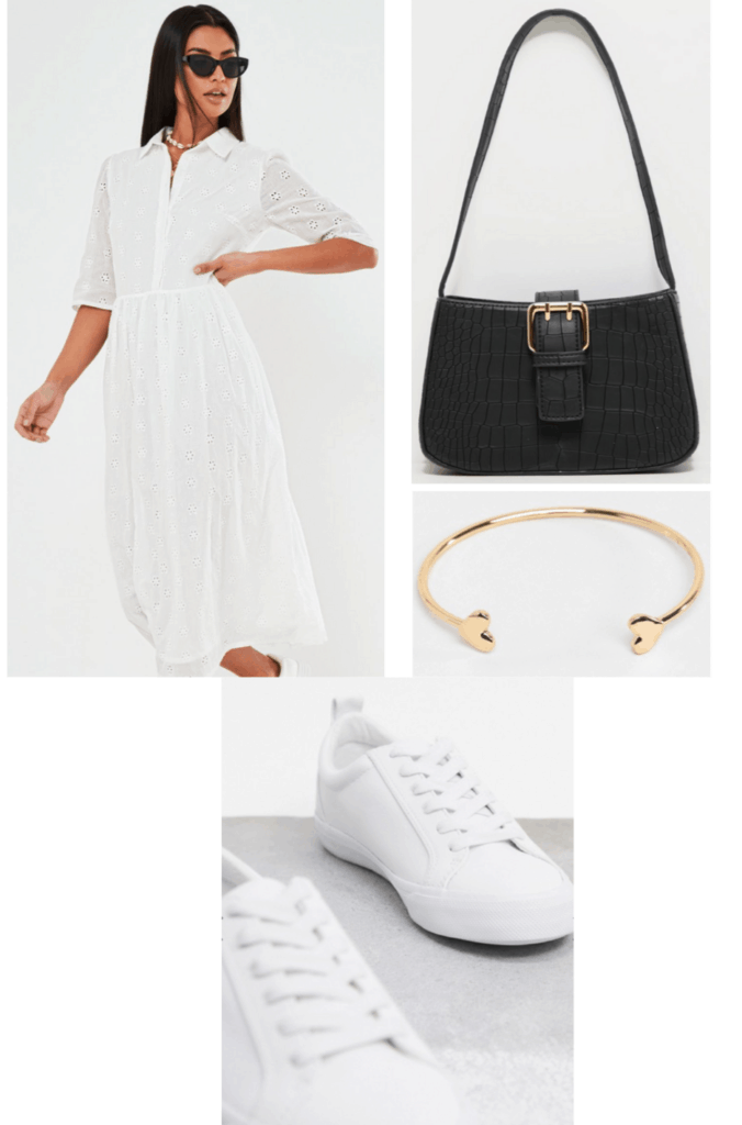white summer dress outfit with shirtdress, black purse, gold jewelry, sneakers