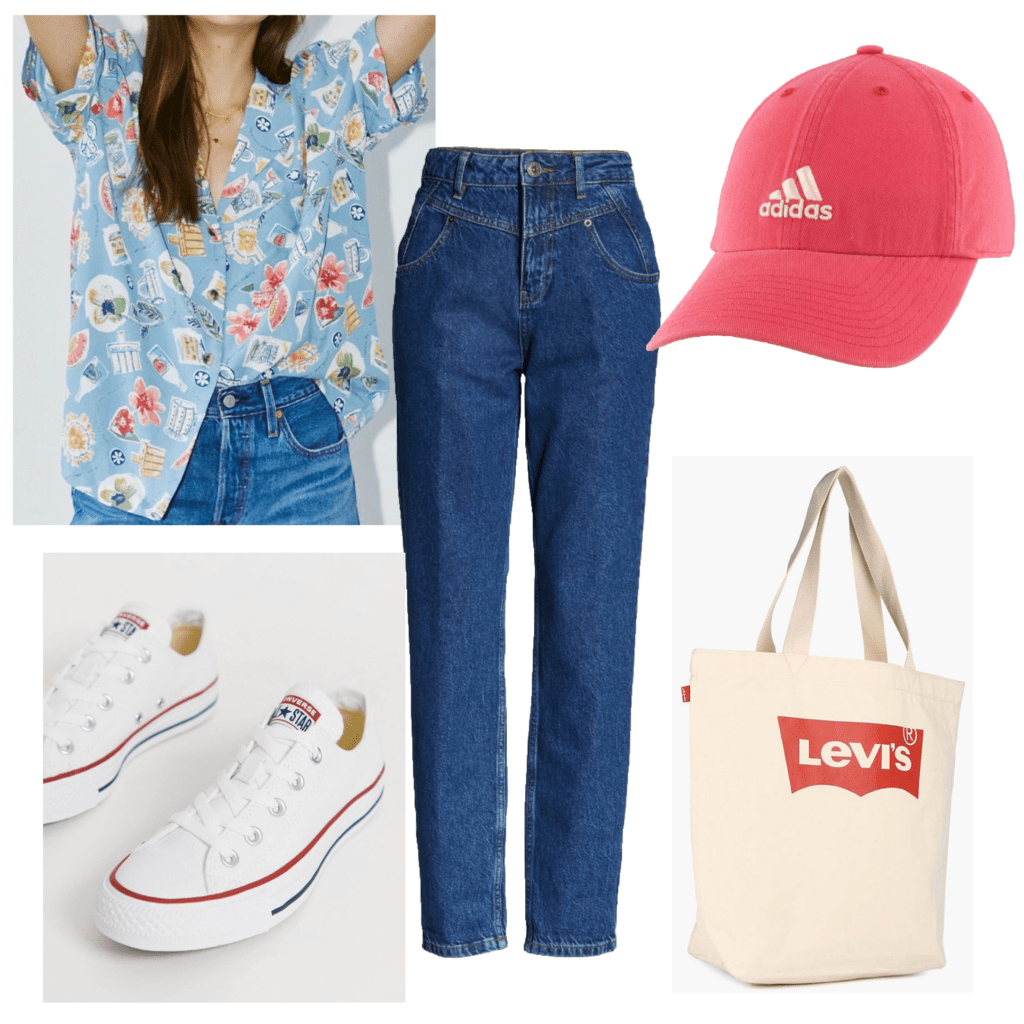 How to style button-down shirts: Photo of an outfit set with a blue patterned button-down, converse sneakers, tote bag, jeans, adidas hat