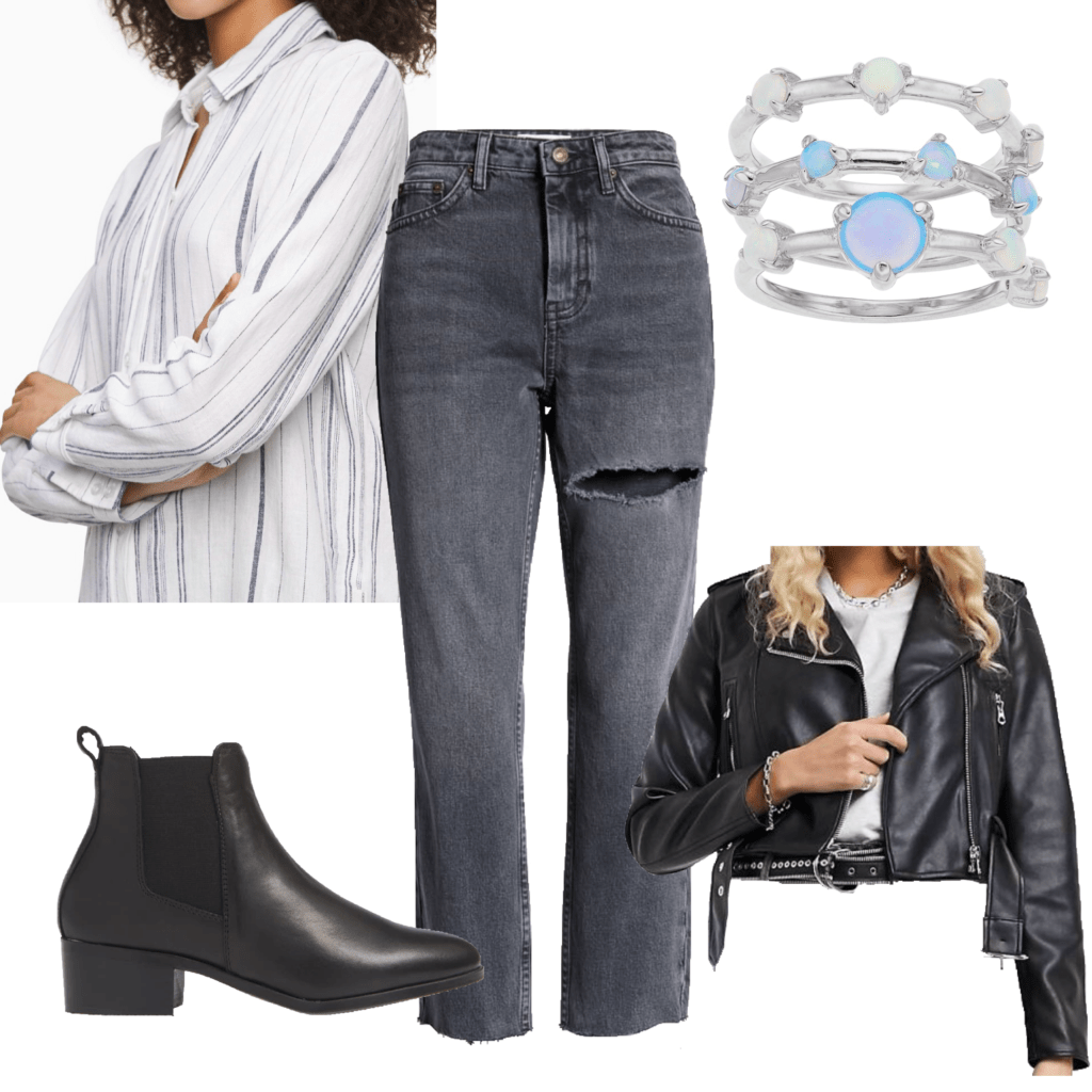 How to style button-down shirts: Photo of an outfit set with a white and blue striped button-down, black boots, leather jacket, ripped jeans
