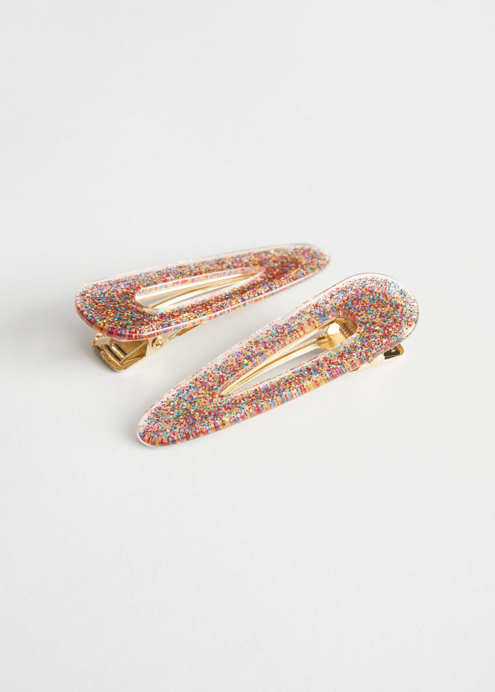 How to accessorize 2020: Multi-Colored Glitter Hair Clip Duo
