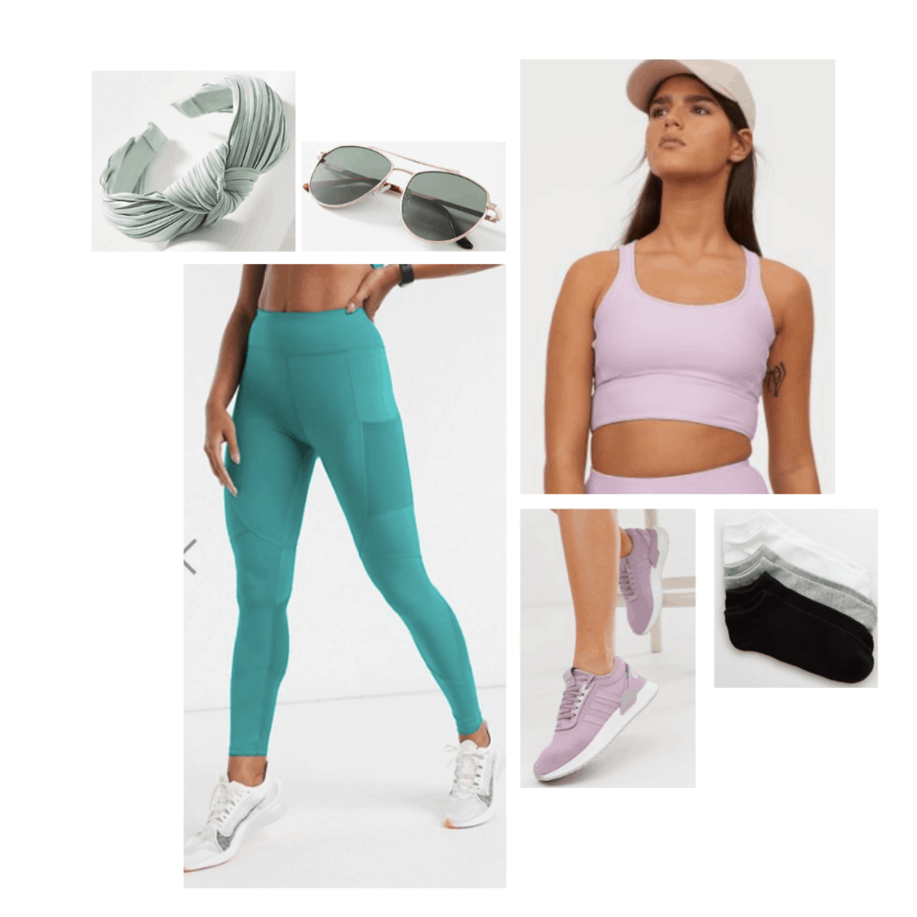 Ariel inspired athleisure outfit, lavender sports bra, green leggings, lavender sneakers