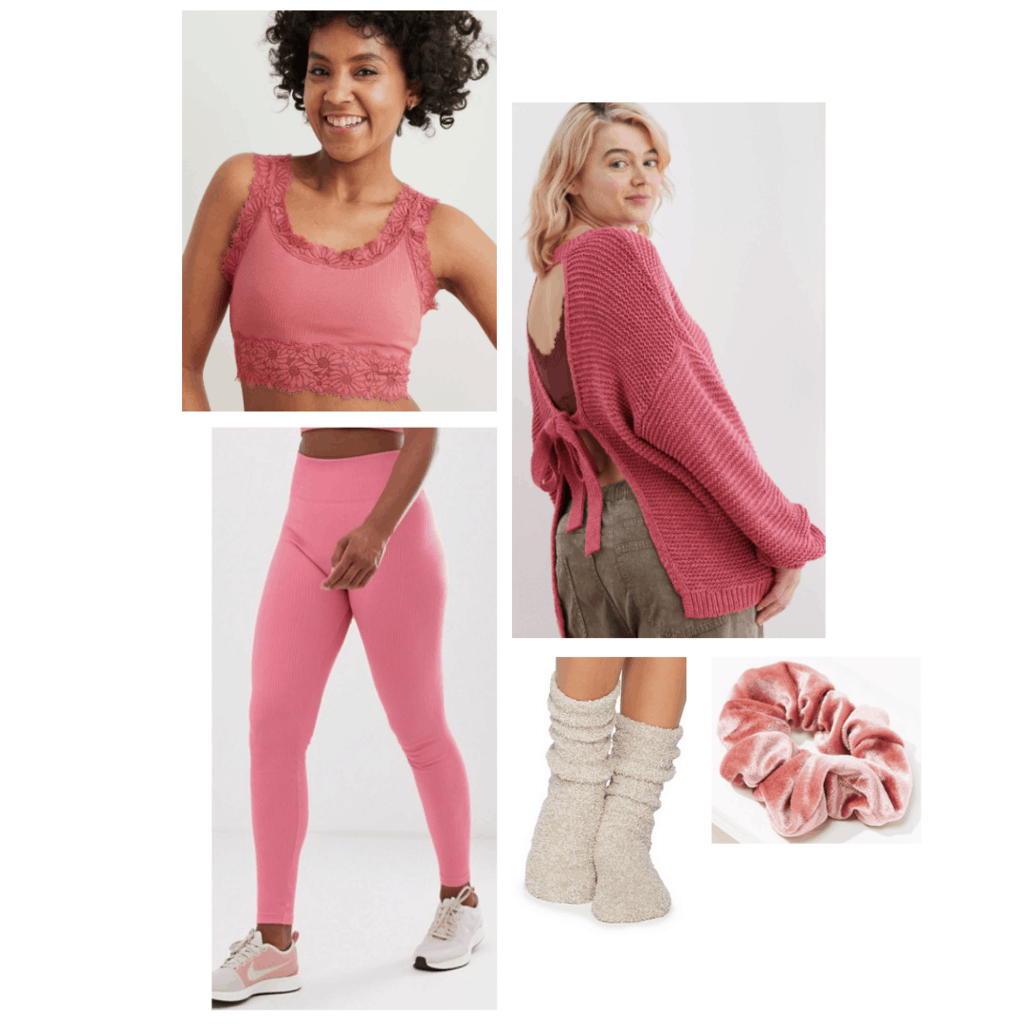 Aurora disney princess inspired loungewear outfit, pink open-back sweater, pink bralette, pink leggings, cozy socks