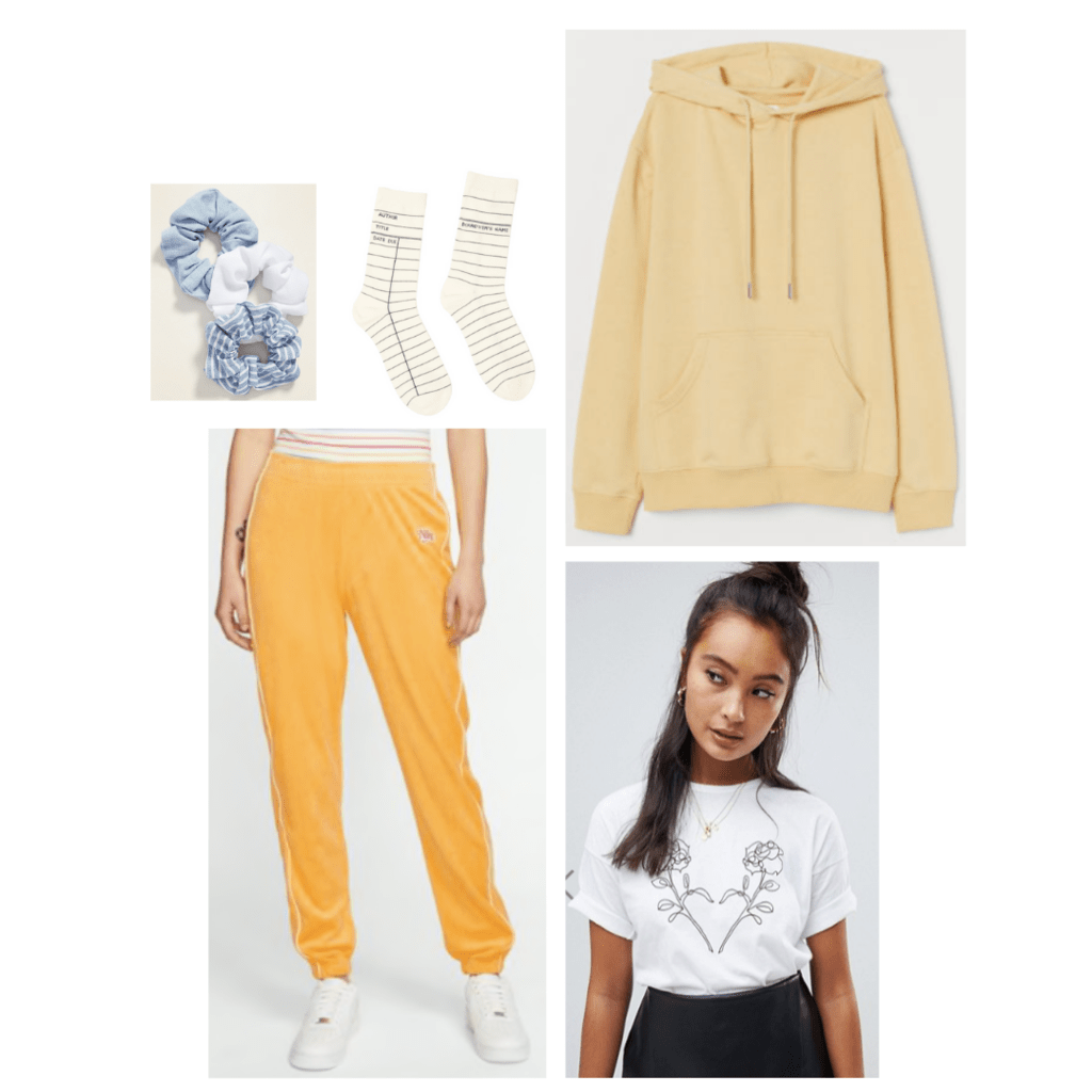 Outfit inspired by Belle from Beauty and the Beast: pale yellow oversized hoodie, yellow jogger pants, white tee