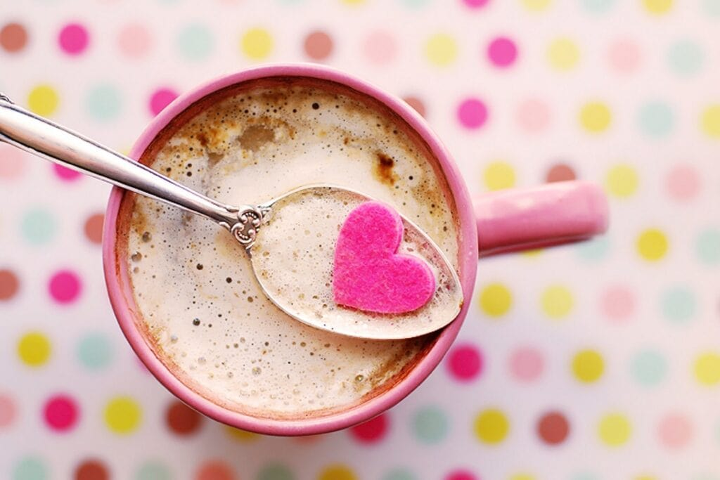 Coffee in pink mug.