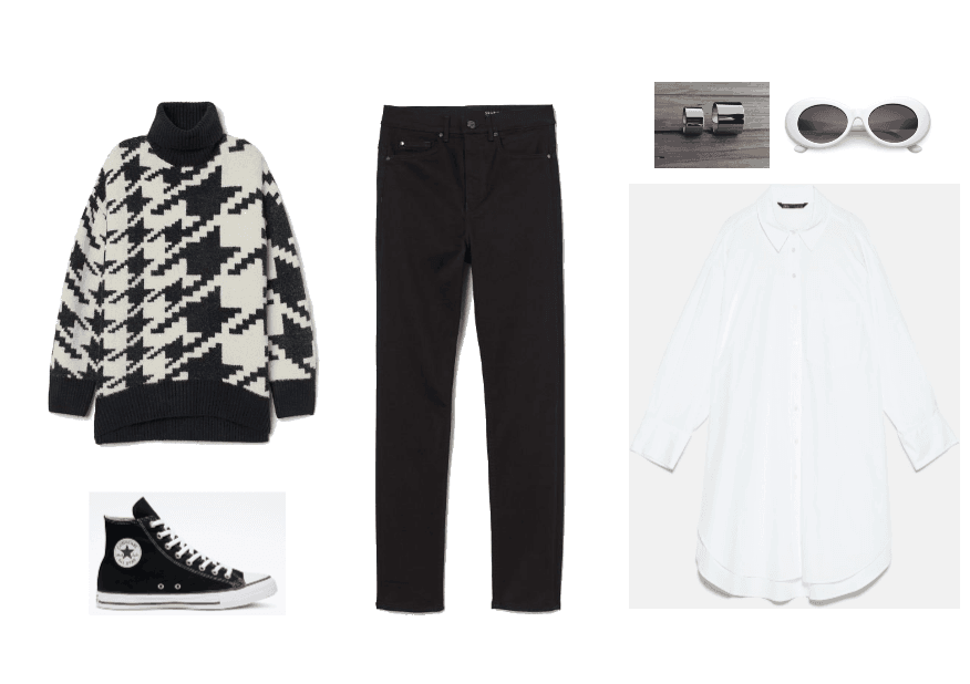 Schitt's Creek Fashion Outfit #1: David Rose: white and black turtleneck sweater, black jeans, black high-top converse, white button up blouse, and round white sunglasses.
