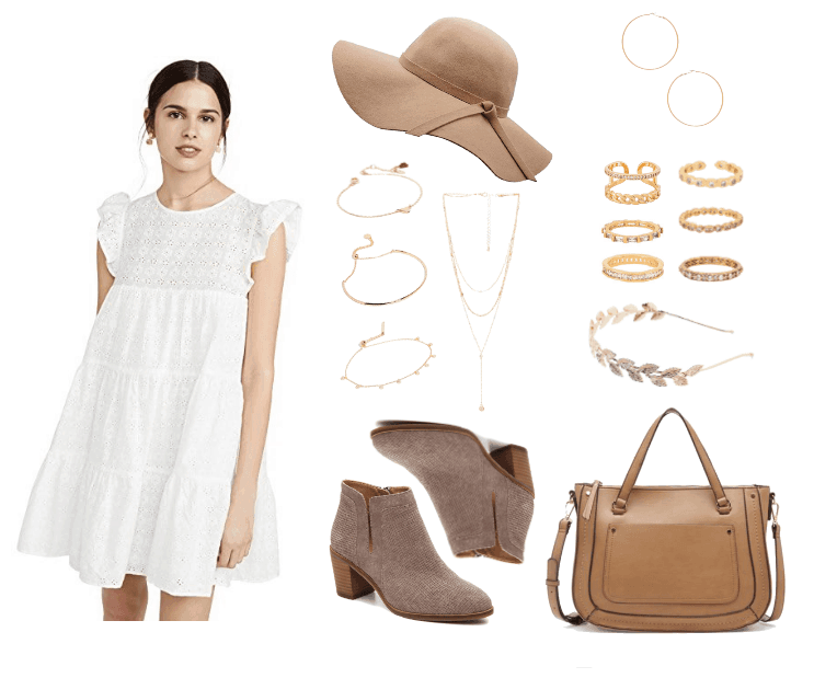 Schitt's Creek Fashion Outfit #2: Alexis Rose: white peasant dress, delicate gold jewelry, brown purse, taupe booties