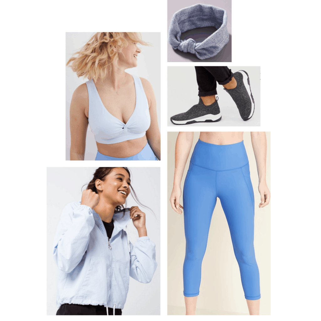 Cinderella inspired athleisure outfit, baby blue bralette, blue leggings, soft blue jacket, pull on sneakers