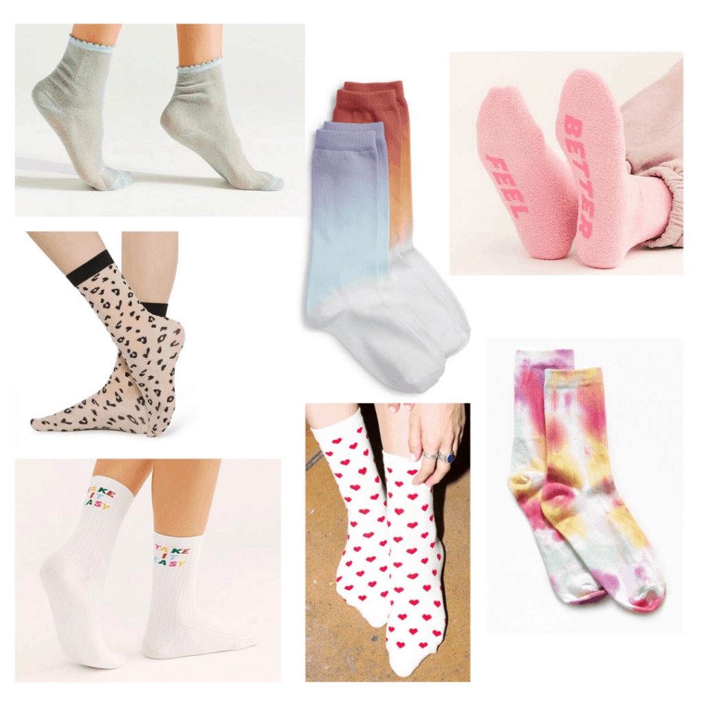 Fashion accessories list: Cute socks in different prints and colors