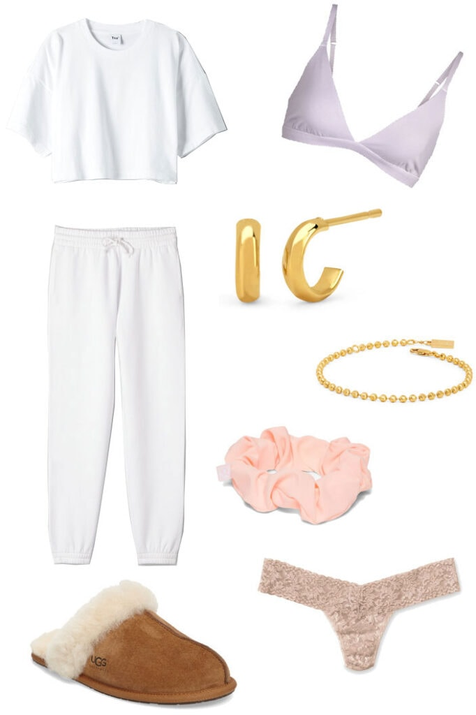 My ultimate cozy outfit - sweats from Aritizia, purple bralette, gold jewelry, scrunchie, ugg slippers