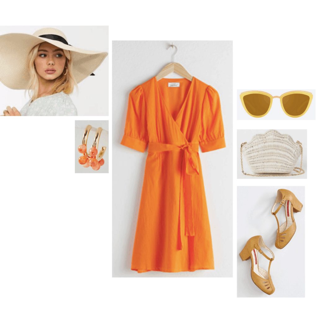 Emma fashion: Outfit inspired by Mrs. Elton from the 2020 film adaptation of Jane Austen's Emma. Outfit set includes an orange dress, oversized wide brim hat, orange bauble earrings, shell bag, and t-strap heels