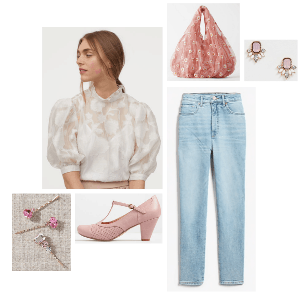 Emma fashion: Outfit inspired by the character Emma from the 2020 Jane Austen film, with light wash jeans, blousey top, sheer bag, pink heels