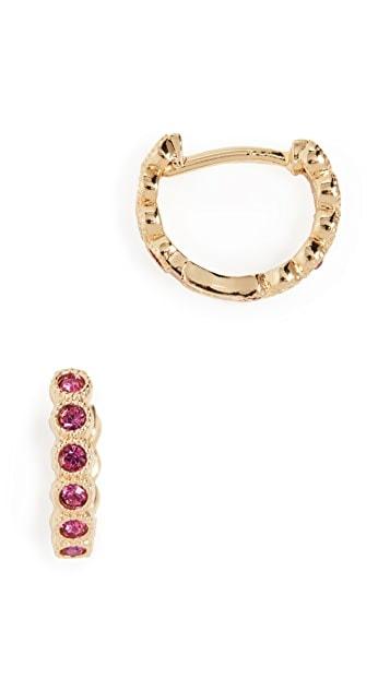 Gorjana Fuchsia Crystal Huggie Hoop Earrings