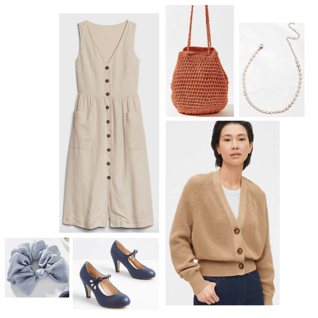 Outfit inspired by Harriet from the 2020 Jane Austen film Emma: Button front dress, beige cardigan, light blue scrunchie, blue heels