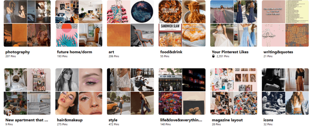 Sample boards from Pinterest