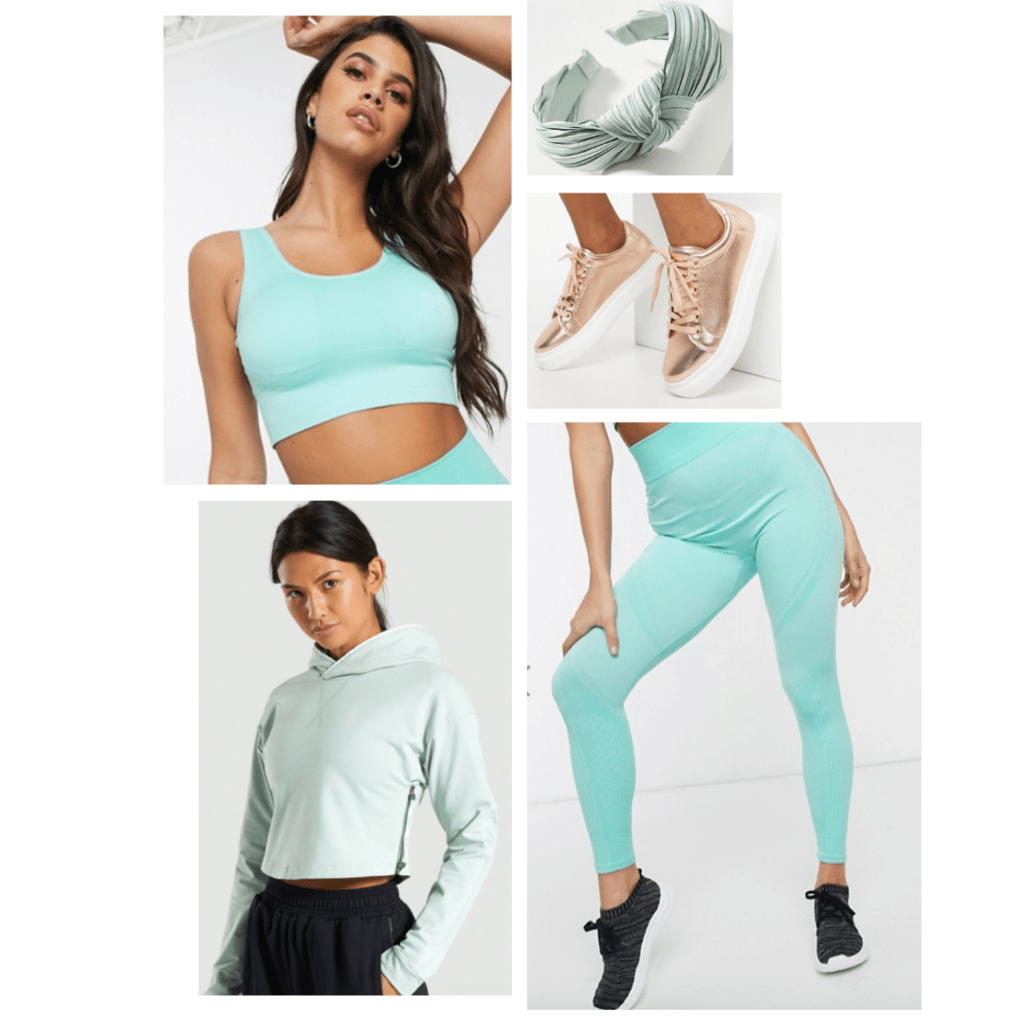 Outfit inspired by Jasmine from Aladdin: neon green sports bra and pant set, mint green hoodie, rosegold sneakers