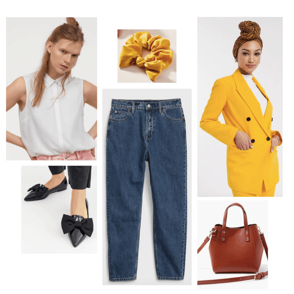 Outfit inspired by Mr. Elton from the 2020 film Emma with yellow blazer, high waisted jeans, flats, simple bag, button-down shirt