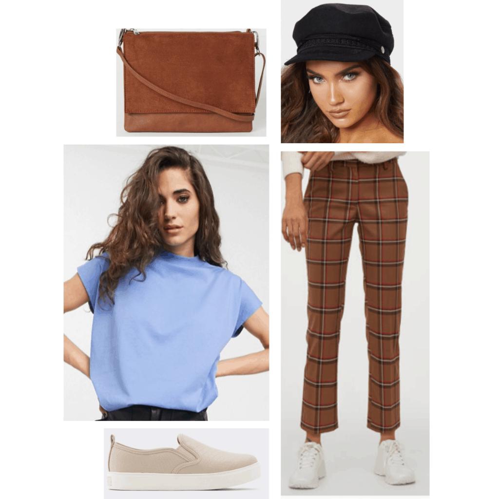 Outfit set: blue short sleeved shirt, plaid trouser pants, black golf hat, brown purse, tan slip-on shoes.