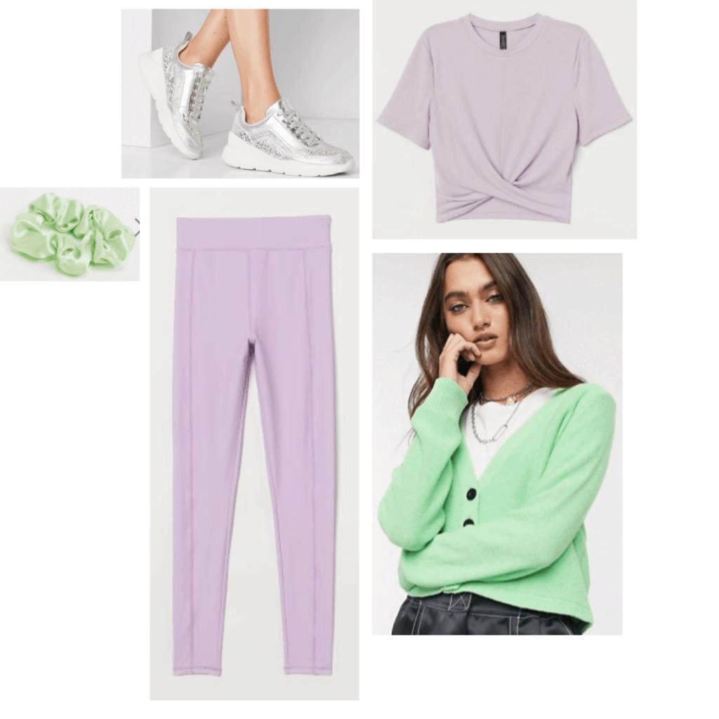 Outfit set: pastel purple crop top, lilac leggings, mint green cardigan, silver sneakers.
