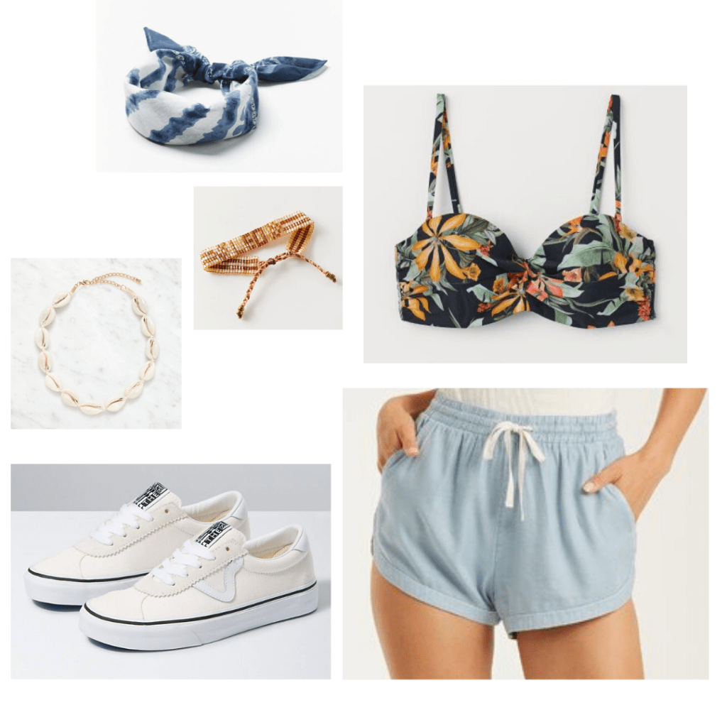 Outer banks fashion: Outfit inspired by Kiara's style from Outer Banks with floral bikini, tie dye bandana headband, white vans, blue shorts, shell jewelry