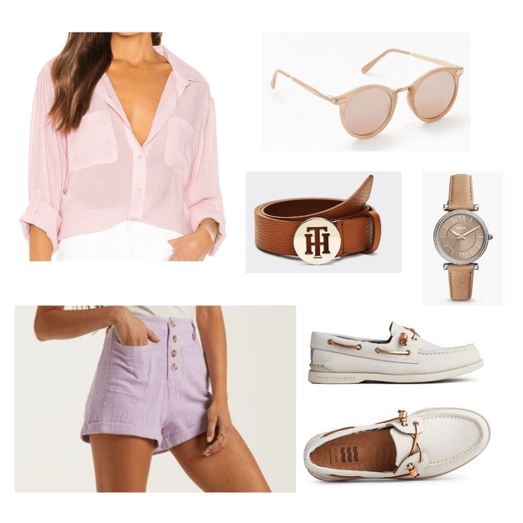 Outfit inspired by the Kooks on Outer Banks with pastel shorts, button down shirt, boat shoes, logo belt, watch, sunglasses