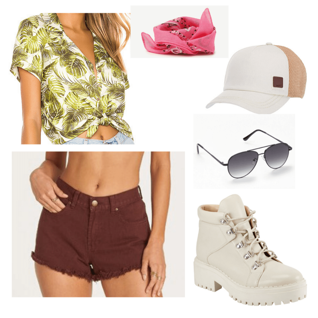 Outer banks fashion: Outfit inspired by the Pogues with ripped denim shorts, boots, tied-up hawaiian shirt, aviator shades, trucker hat