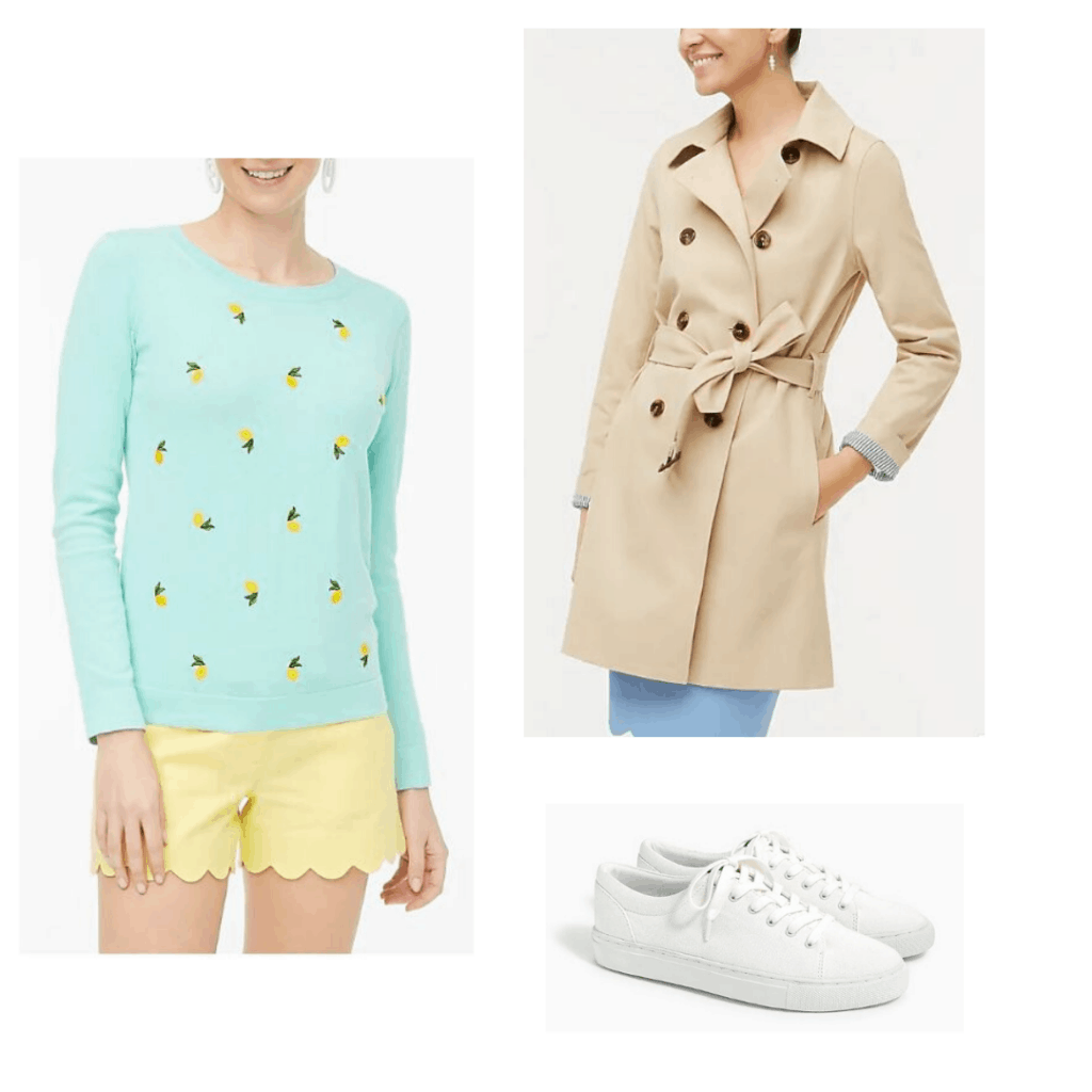 Blue sweater with lemon print, scalloped yellow shorts, trench coat, and white canvas sneakers from J.Crew Factory