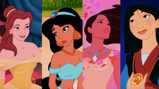 Looks inspired by Disney Princesses: Belle, Jasmine, Pochaontas, Mulan