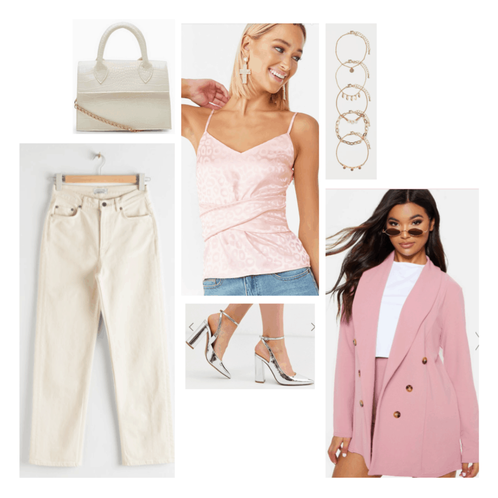 High school musical fashion: Outfit inspired by Sharpay Evans style with Cream jeans, pink top, pink blazer, silver heels and jewelry