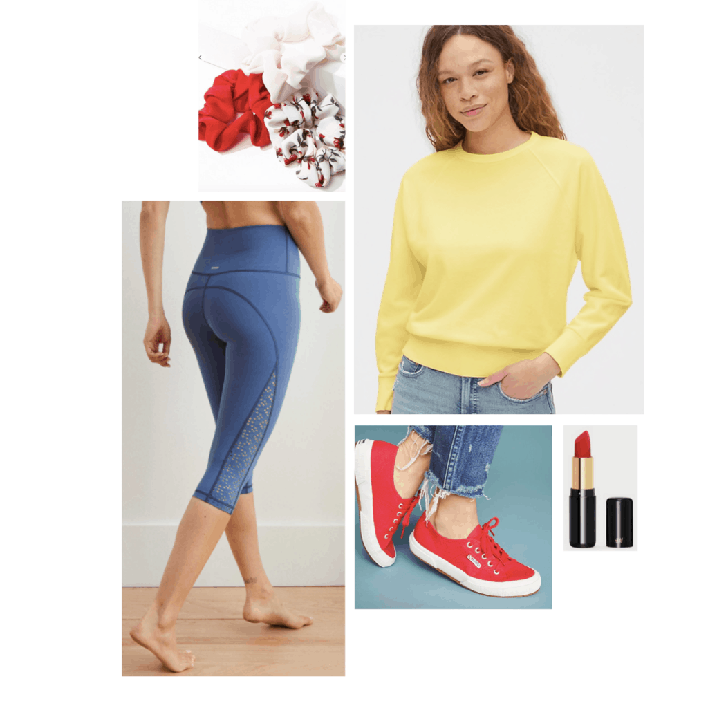 Snow white inspired athleisure outfit: yellow pullover, blue fabletics leggings, red sneakers