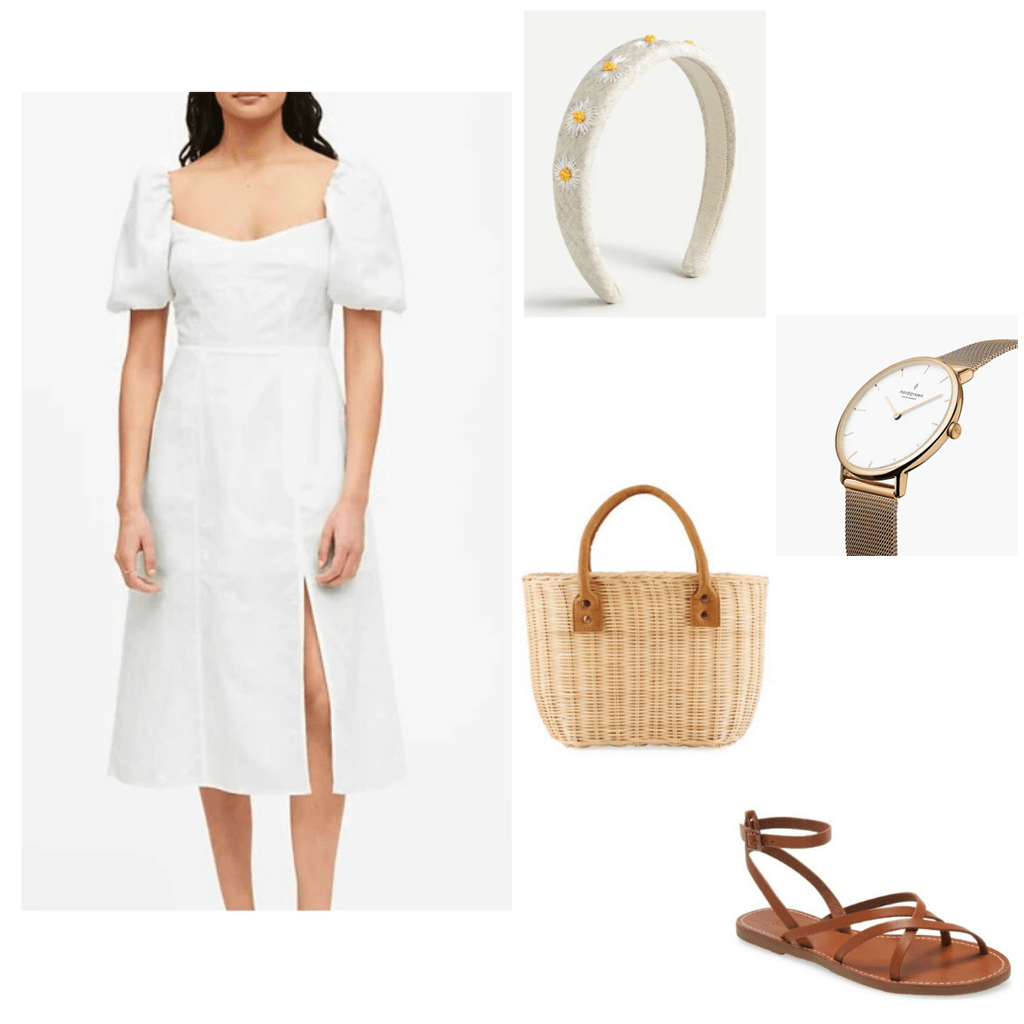 Summer dresses 2020 guide - White sundress outfit: Banana republic puff sleeve white sundress, woven basket bag, gold watch, brown leather sandals