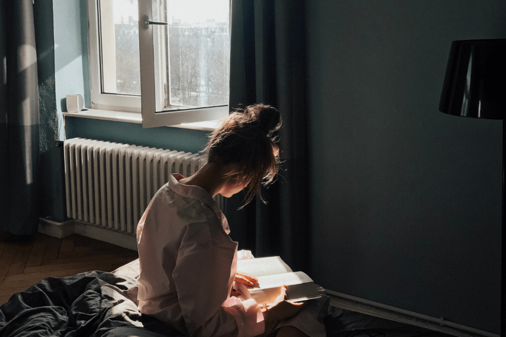 Woman reading indoors