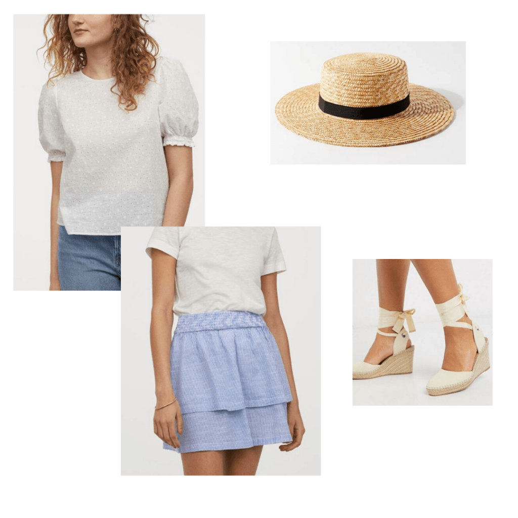 Mothers Day outfit: H&M white blouse and blue striped mini skirt with UO straw hat and ASOS espadrilles