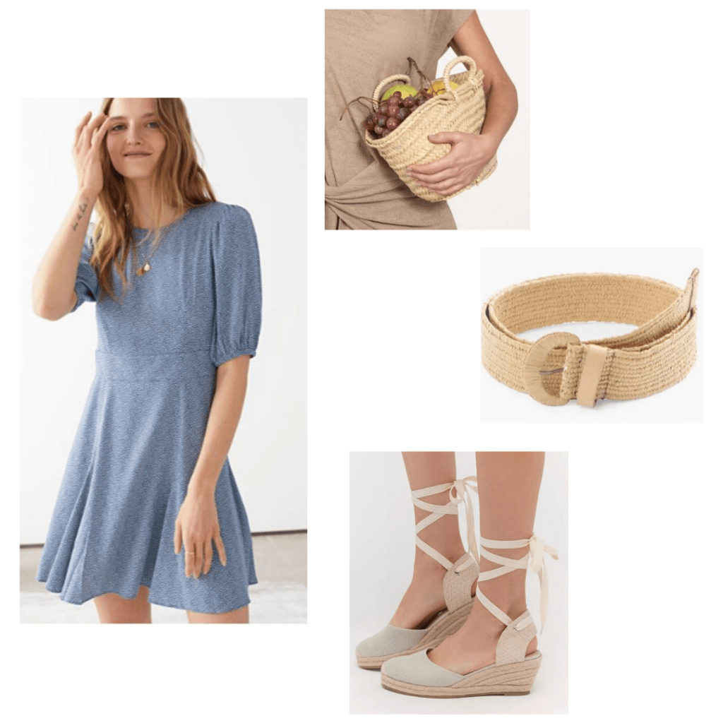 How to wear woven accessories: Outfit with & Other Stories blue dress, wicker mini tote, woven belt, espadrille wedges