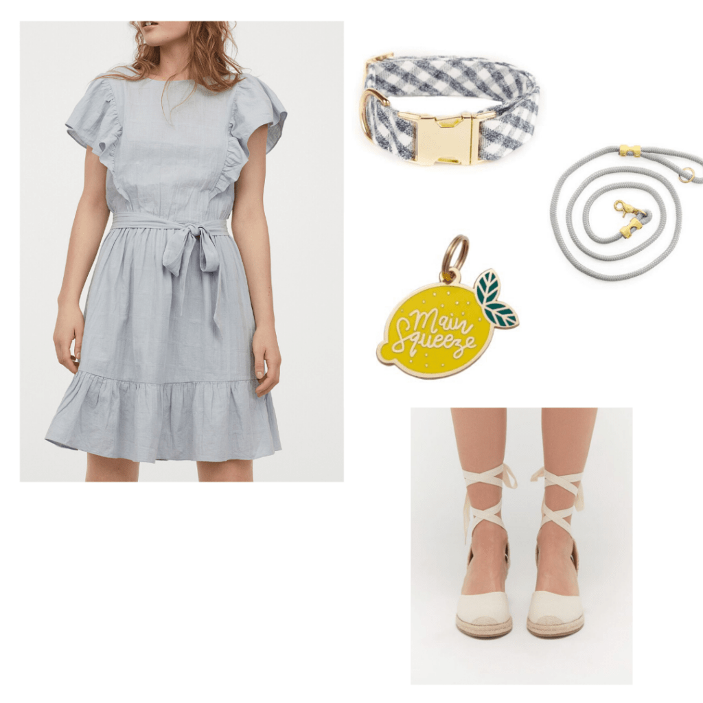 Dog walk outfit: H&M dress styled with Urban Outfitters espadrilles. Matching dog leash and collar from The Foggy Dogand lemon dog tag from Two Tails Pet Company
