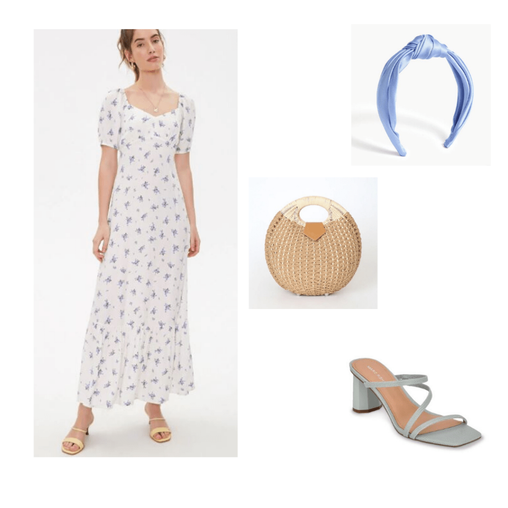 Forever 21 floral dress with snakeskin blue strappy heels, wicker purse, and turban headband