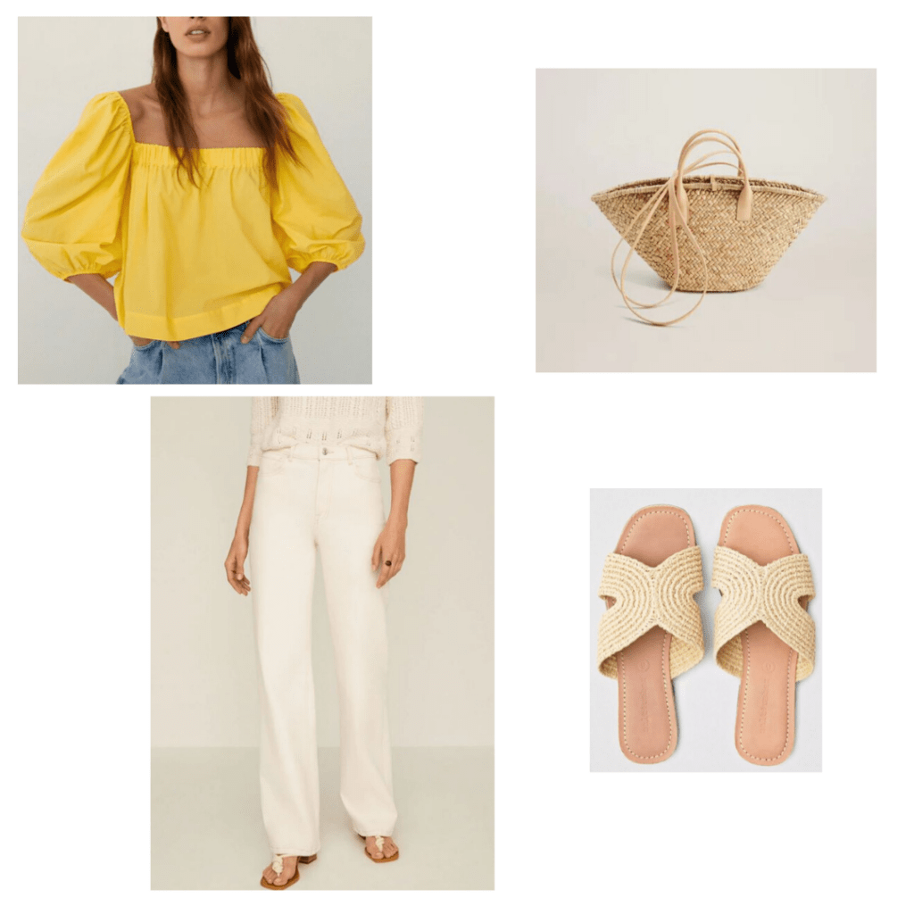 Mango yellow crop top, high waisted white jeans, and double strapped basket bag with Salt + Umber wicker slide sandals