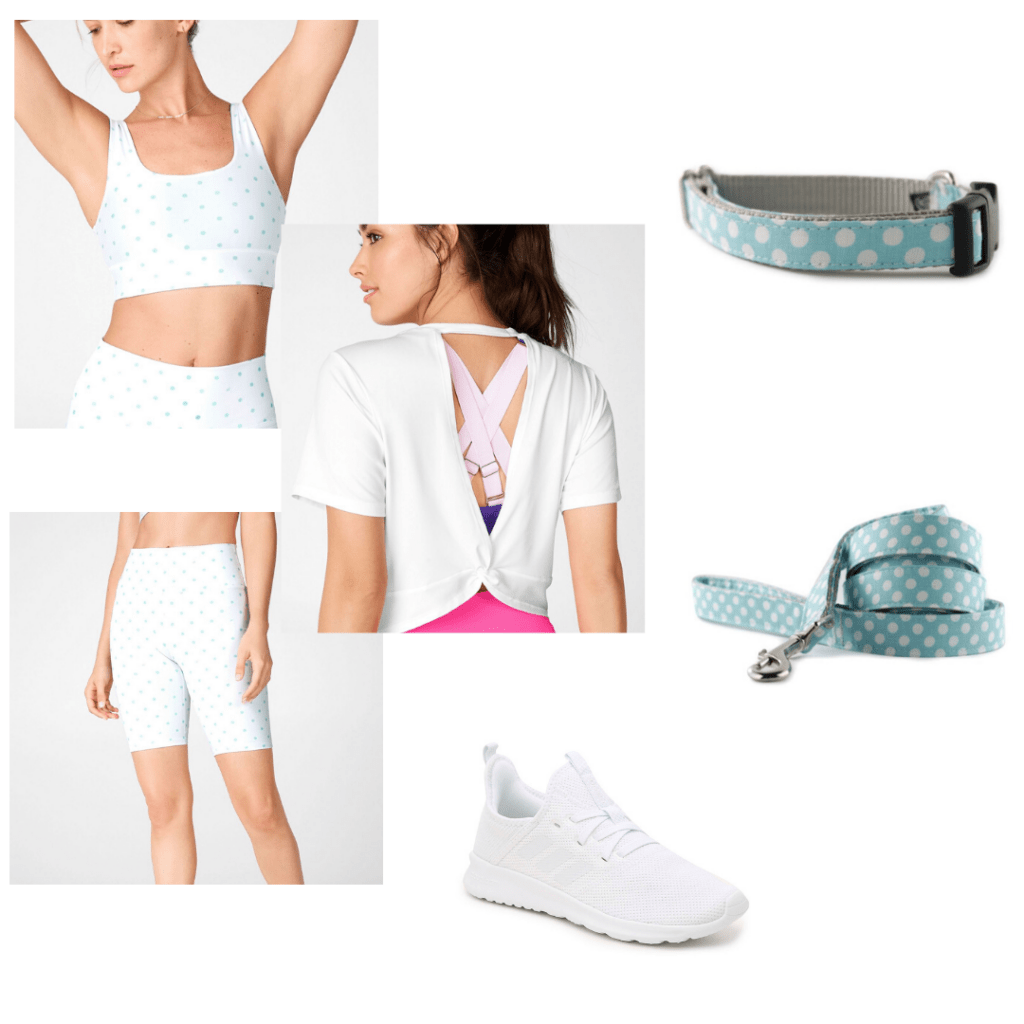 Fabletics matching polka dot bra and biking short with twist back t-shirt. Styled with Adidas white sneakers and matching polka dot dog collar and leash