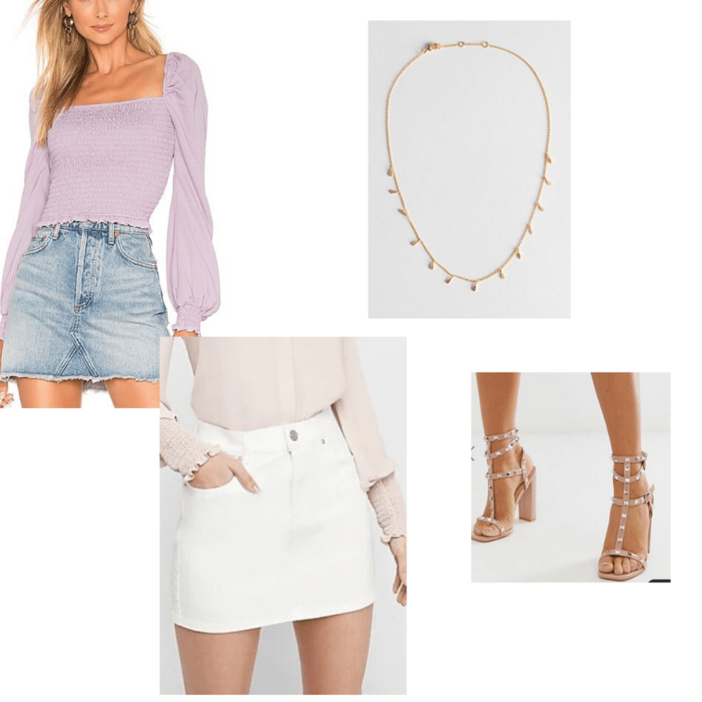 Mothers day outfit: Revolve smocked blouse, Express white denim mini skirt, & Other Stories necklace and ASOS heels