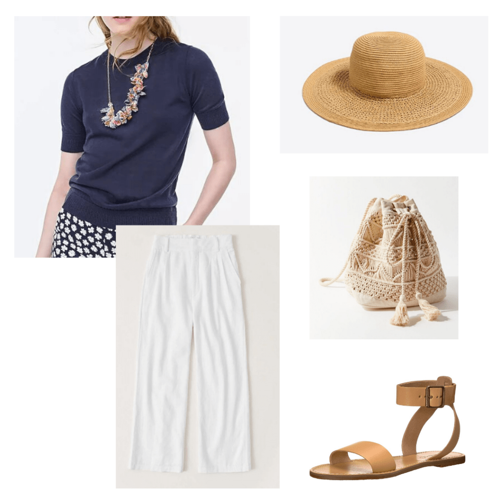 J.Crew sweater and woven hat, Abercrombie linen pants, Urban Outfitters woven backpack, Madewell leather brown sandals