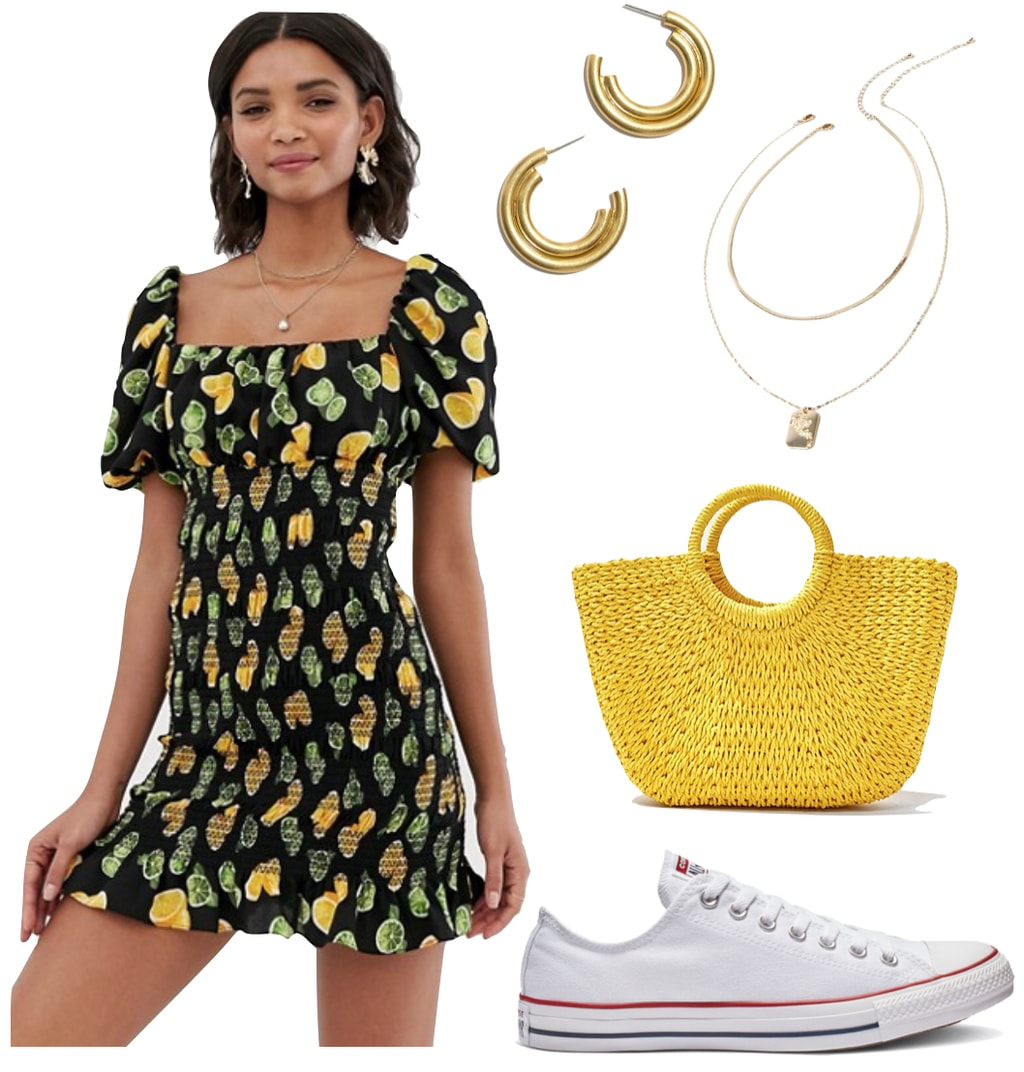 Ayesha Curry Outfit: lemon and lime print mini dress, gold hoop earrings, layered gold necklace, yellow straw basketwoven tote bag, and white Converse Chuck Taylor All Star low top sneakers