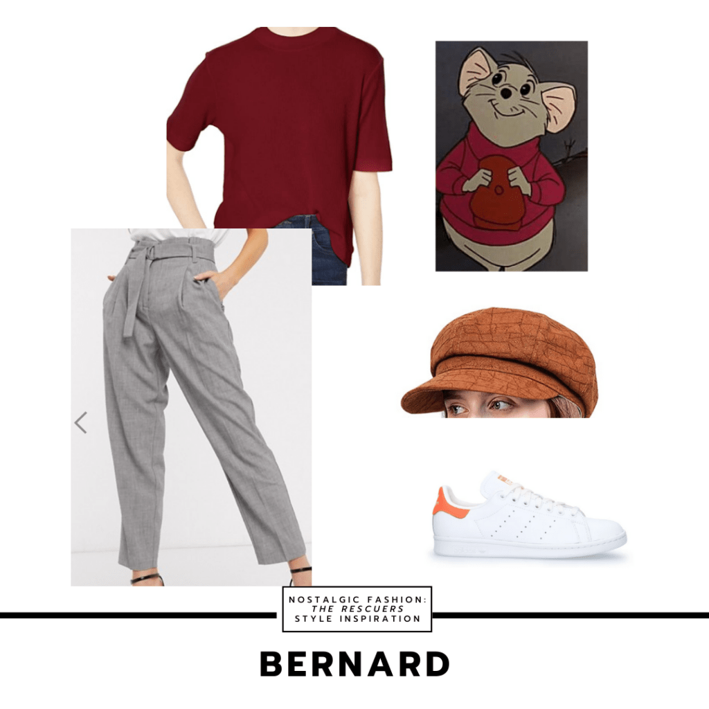 Outfit set inspired by Bernard's style from The Rescuers - gray trousers, dark red t-shirt, white sneakers, rust colored paper boy hat