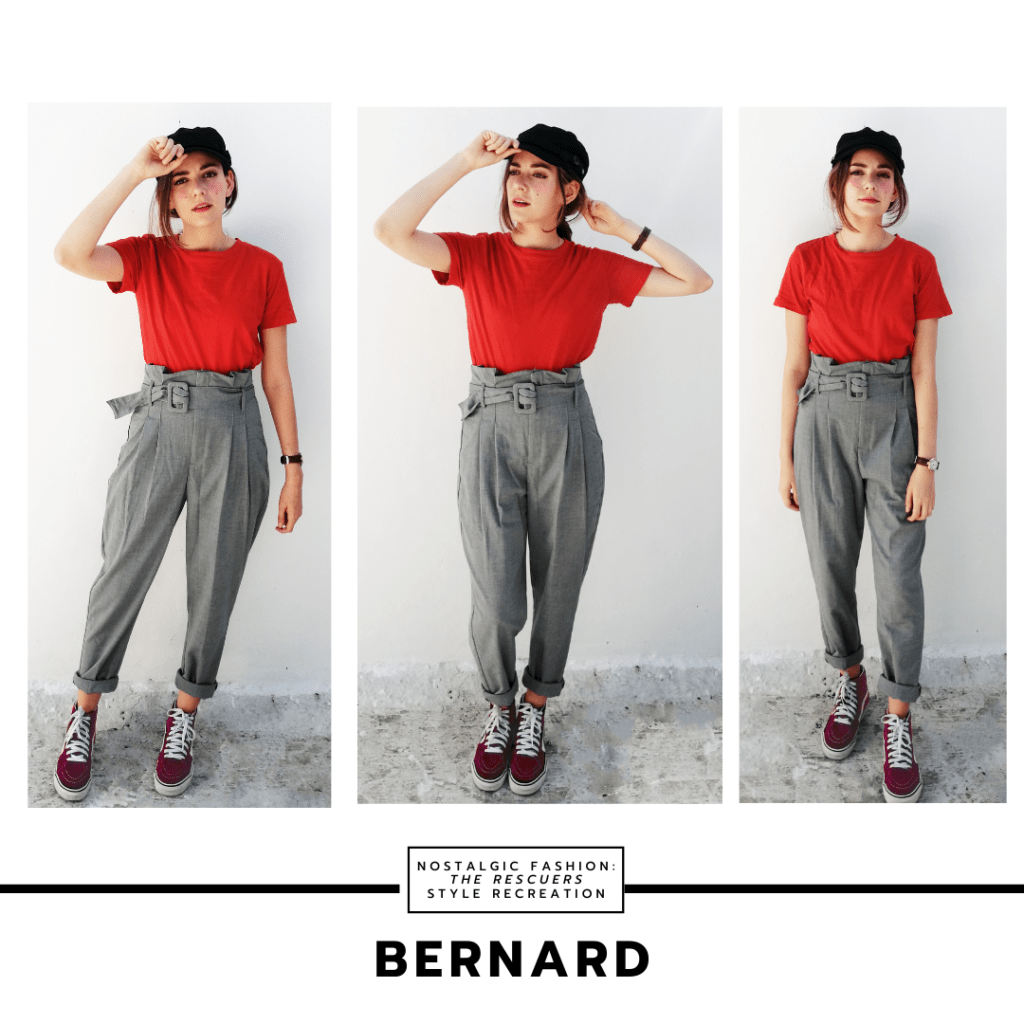 Disneybound outfit inspired by Bernard from The Rescuers - look with gray trouser pants, red cropped t-shirt, burgundy sneakers