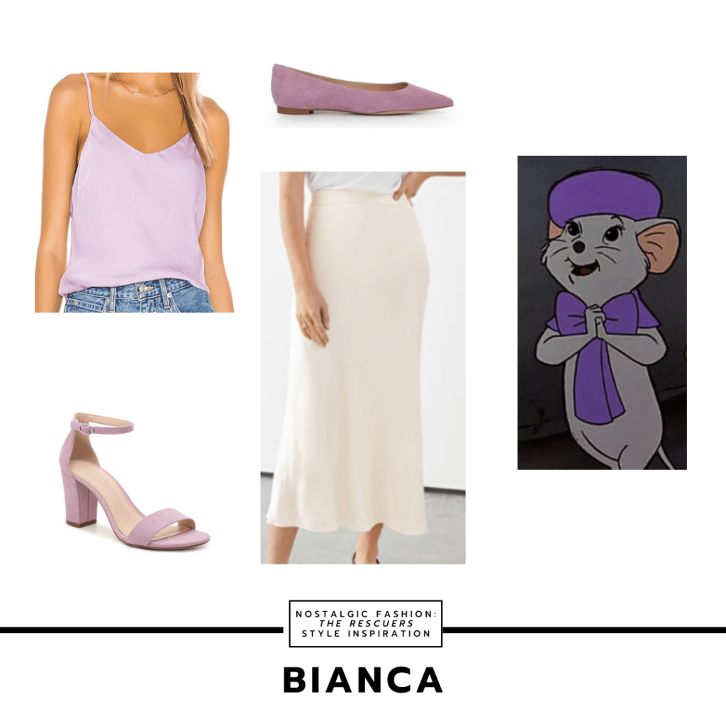 Disneybound outfit set inspired by Bianca's style from The Rescuers with lavender cami tank, cream colored skirt, lavender flats, and an alternate pair of lavender heels