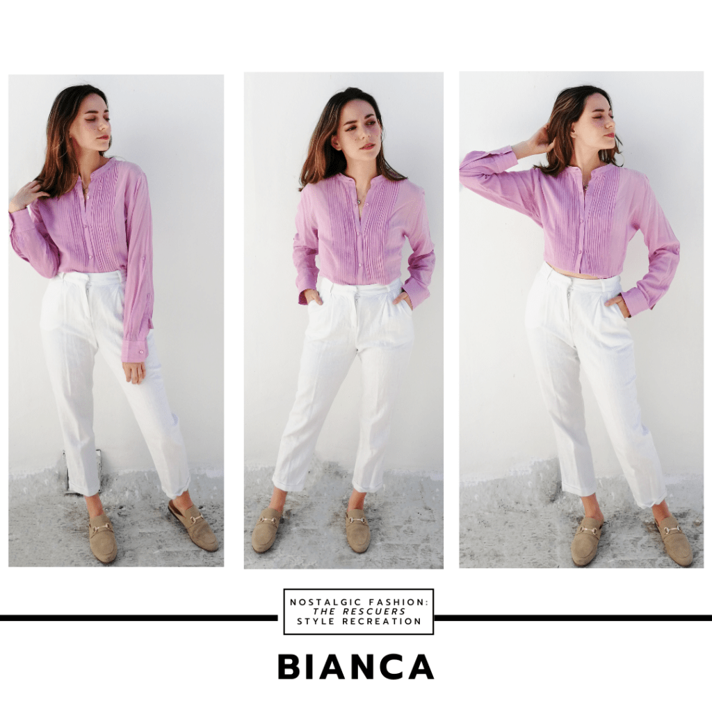 Disneybound outfit inspired by Bianca from The Rescuers with white pants, tan loafers, purple button-down shirt