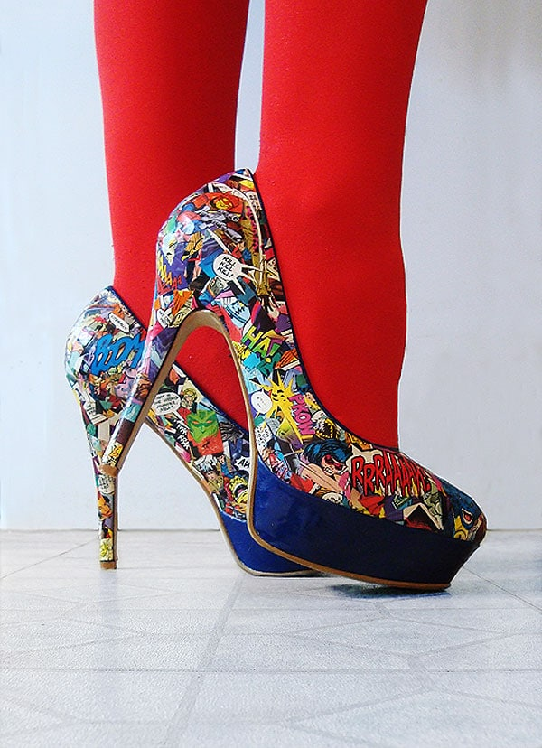 blue heels with comic books pages attached