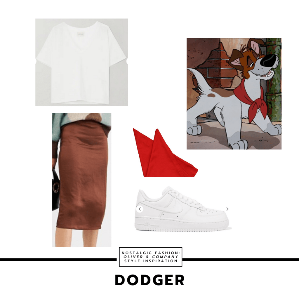 Disneybound outfit inspired by Dodger in Oliver & Company with brown midi skirt, Nike Air Force Ones, red bandana, white slouchy t-shirt