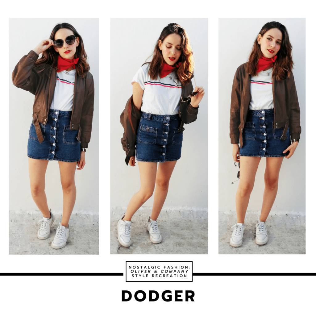 Oliver & Company fashion - Disneybound outfit inspired by Dodger from Disney's Oliver and Company with denim button front mini skirt, white printed t-shirt, red bandana, aviator jacket in brown, sunglasses